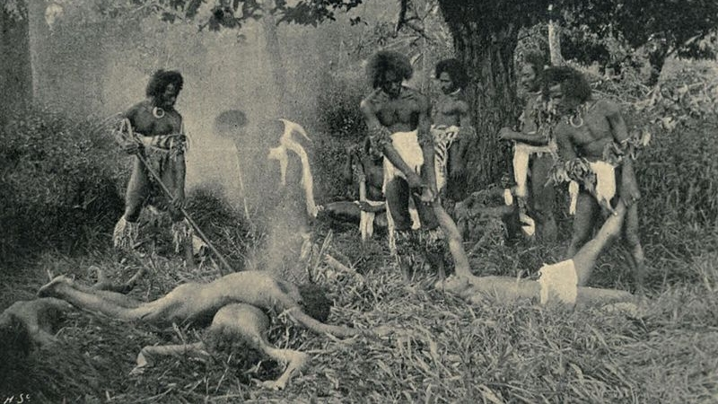 A cannibal feast in Fiji (wikimedia commons)