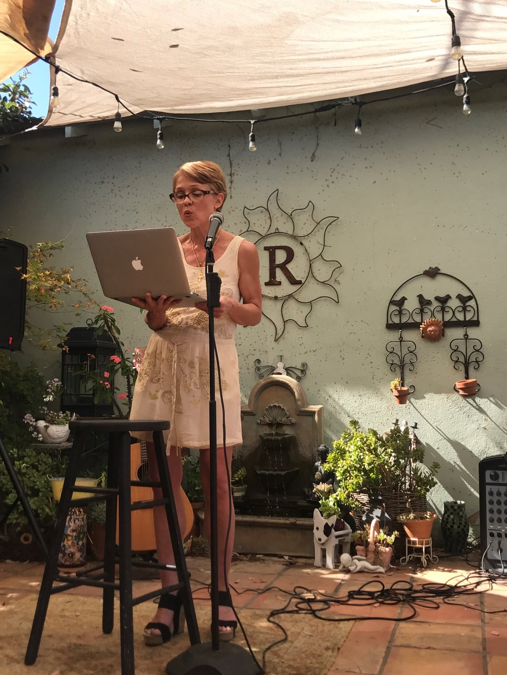 Reading at Side Door Salon on July 18, 2017.