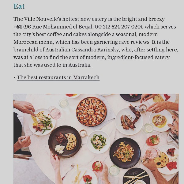 48 Hours in Marrakech! Thank you 🙏 very much @paulahardy & @telegraph for including us in this fabulous piece! #plus61marrakech #marrakech #morocco #marrakechrestaurant #guelizrestaurant #healthyeating #igfood #instagramfood #passionpassport #passionpassport #cleanfood #telegraphtravel