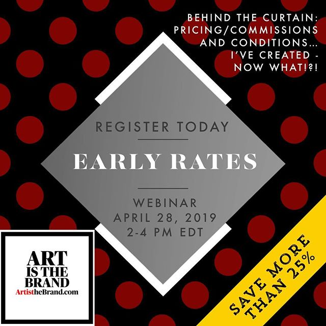Art is about Business too. And Money.  So let's get the questions  about Money and Commissions out of the way! Register Today. Early Rates still apply.  April 28th 2-4 PM EDT #ArtIsTheBrand #Webinar #PricingAndConditions #EarningsAndCommissions #TheBusinessOfArt