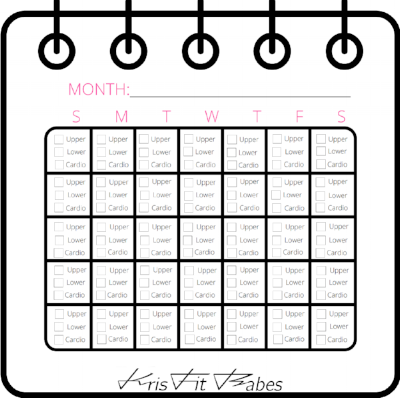 STAY ON TRACK - Use this template to keep track of which days you do upper body, lower body, and cardio. Planning ahead for the week/month is the easiest way to stay on track and reach your fitness goals.