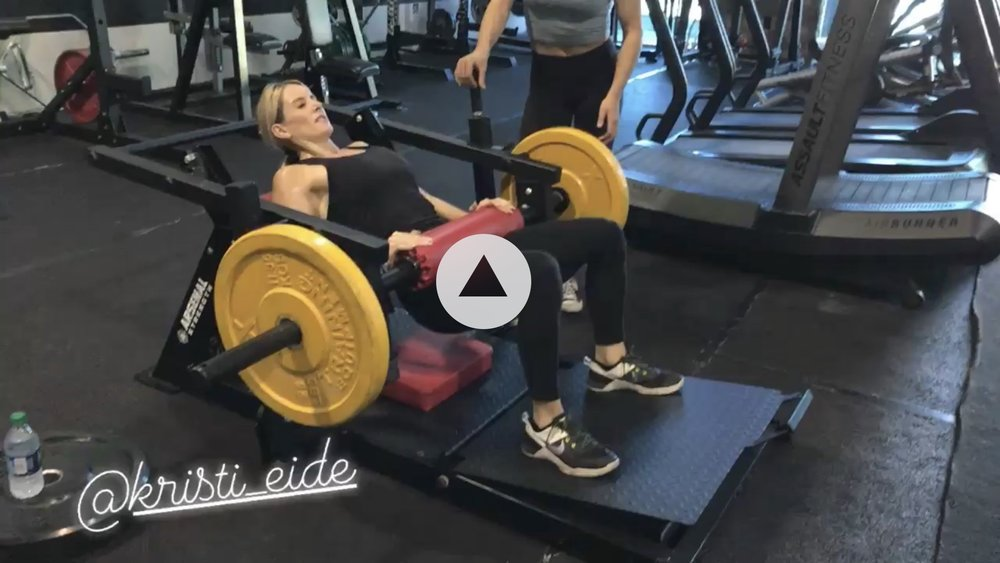 Hip thrusting for 2-0-0 during my first workout there. (IGNORE play button: image is a video still). Clickthrough to view EliteU Instagram.
