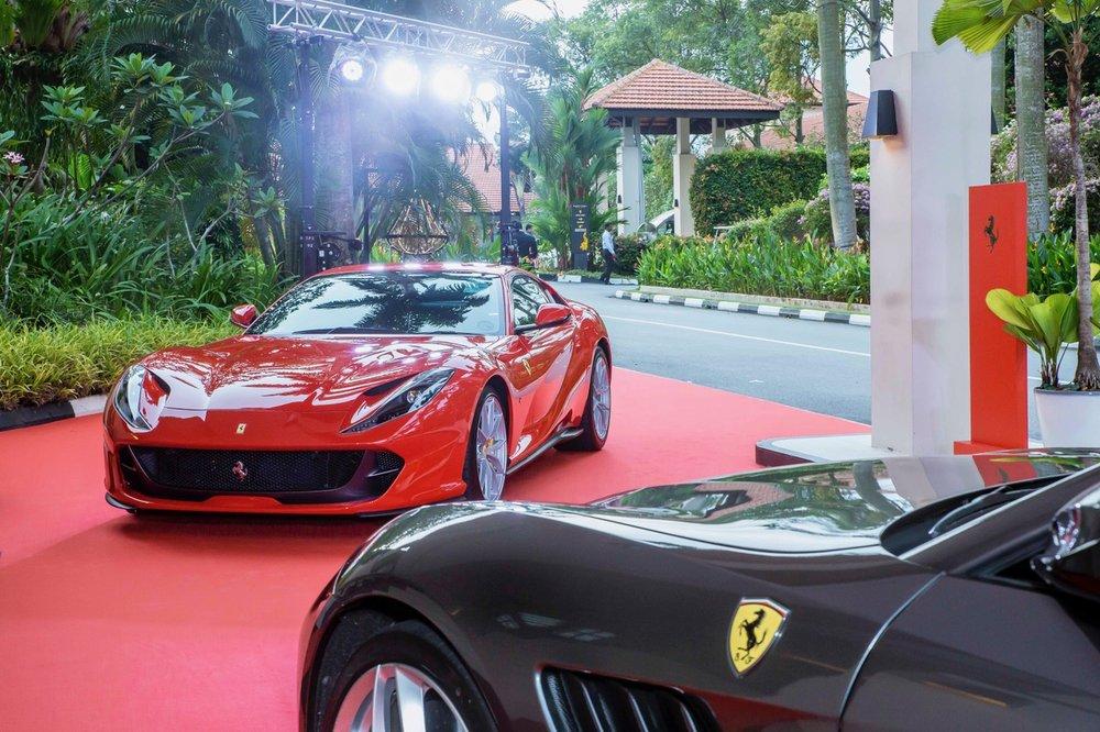 Display of Ferrari cars at the Sofitel Singapore Sentosa Resort & Spa for Singapore Fete La Champagne