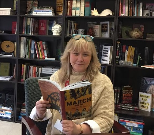 Ms. Janovitz reading the Burlington Reads selection,  March  by Andrew Aydin and John Lewis
