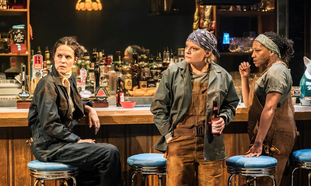 Leanne Best, Martha Plimpton, and Clare Perkins in Sweat. Photo courtesy of Johan Persson (2018).