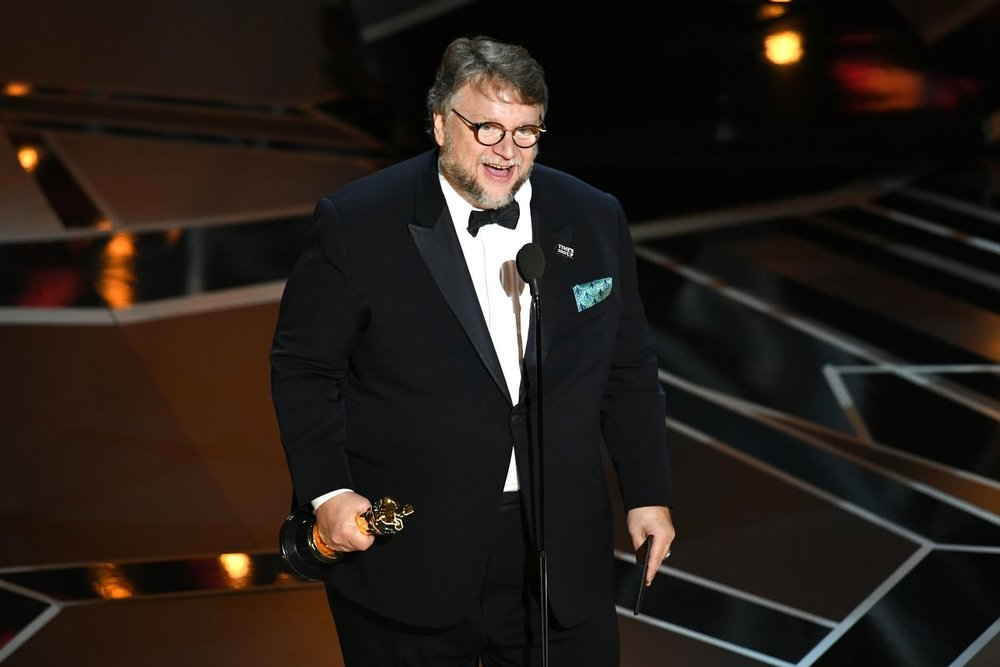 Guillermo Del Toro winning the Oscar for Best Director for Shape of Water (2018). Photo courtesy of Kevin Winter (Getty Images).