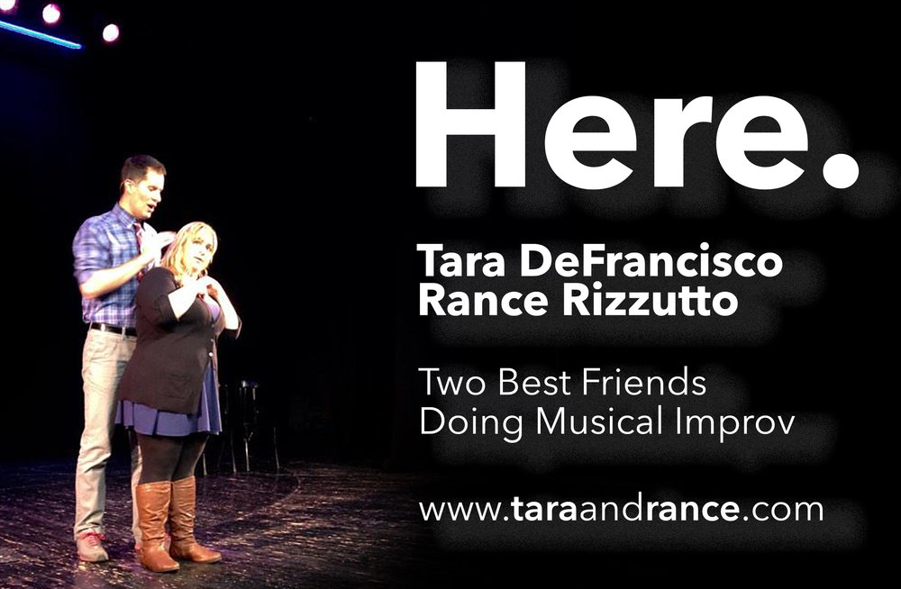 """Here(US) - HERE, the (improvised) Musical is one of Chicago's most lauded shows and one of the most celebrated shows globally in the artform. HERE is the original two-person improvised musical with Tara DeFrancisco & Rance Rizzutto; Chicago Tribune Critic-Recommended (the highest ranked improv show), Chicago Sun Times """"Not to Be Missed"""", and deemed """"Nothing Short of Genius"""" by NPR, this show has been brought to 20 countries and 55 cities worldwide so far, making it the most toured and headlined show in improvisation. The actors and the show have been featured in all the above publications, as well as 614 Magazine, Columbus Alive, Dispatch, & Underground, The Free Press, Time Out Chicago, and many more locally around the world. HERE is housed in two theatres consistently: iO Chicago in Illinois, and The Nest Theatre in Columbus, OH, as a featured mainstage act around the global tour.In HERE, Tara and Rance get one suggestion to create theme through an opening number, design characters and storylines inspired by that theme, and effortlessly weave the strings together to discover one piece.Funny, beautiful, and charming, HERE """"has shown something new and amazing is possible in improvisation"""" and has been called groundbreaking by audiences around the globe."""""""