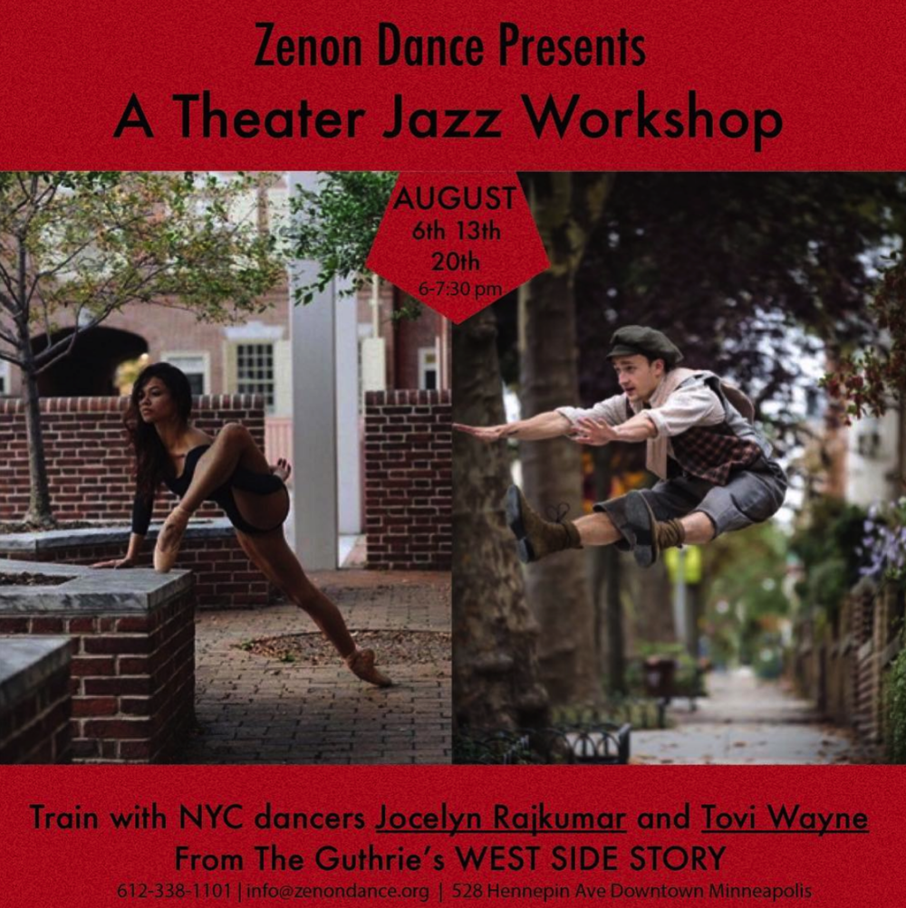 Jazz Workshop - Tovi taught a Jazz Dance workshop series at Zenon Dance in Minneapolis, MN. Tovi collaborated with Jocelyn Rajkumar from Complexions,and brought their love of dance to a new and excited class of dancers. The class consisted of old and new school styles of jazz dance.