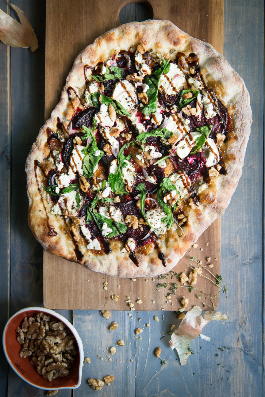 Fig jam, herbed chevre, beets, shallot, walnut, arugula, balsamic glaze | Homemade Pizza Inspiration | Homemade Pizza Tips | Homemade Pizza Ideas | How to Make Pizza at Home | Pizza Toppings | Vegetarian Pizza | Vegetarian Pizza Ideas | Vegetarian Pizza Toppings | Pizza Party | Winter Pizza | Seasonal Pizza Toppings | Food Styling | Food Photography | Food Styling Ideas | Food and Prop Styling | Paprika Southern
