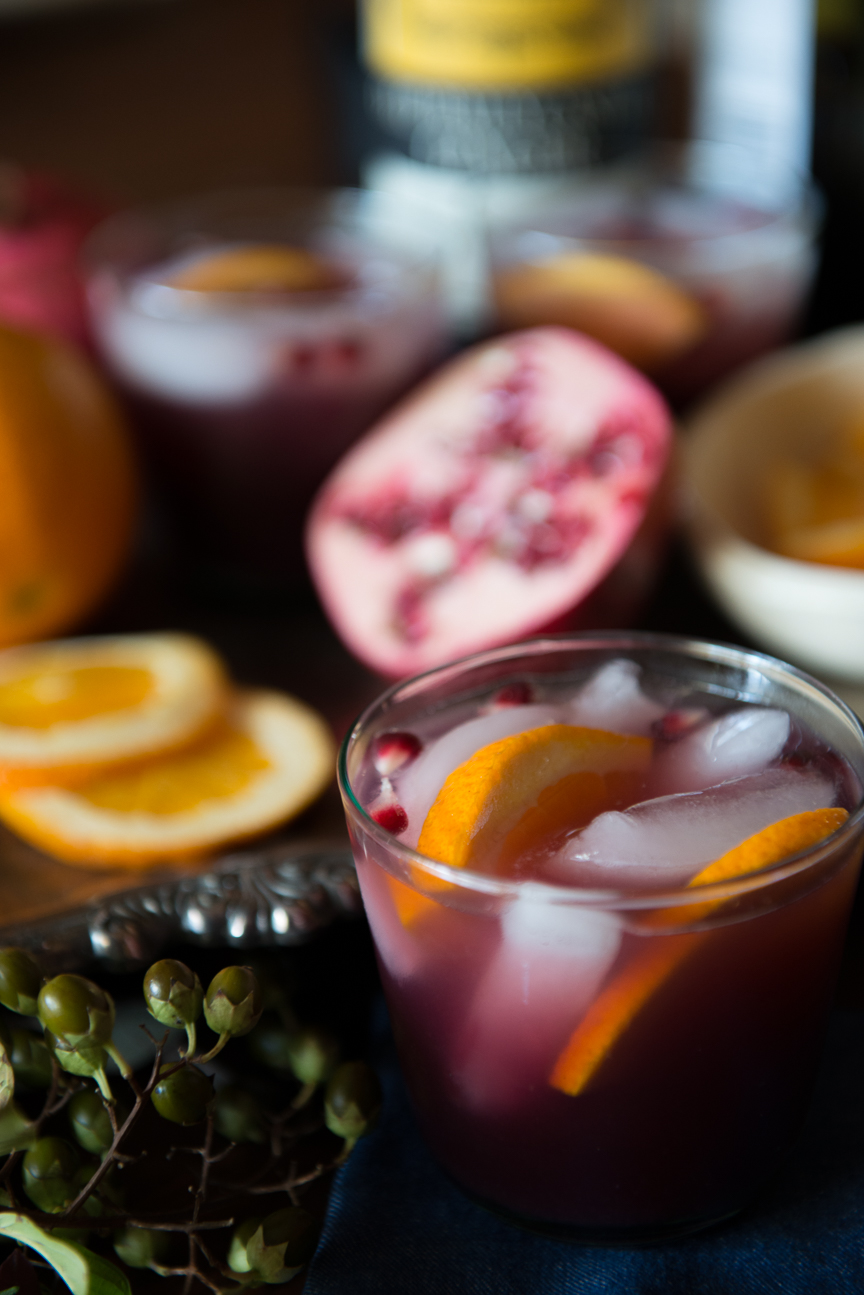 Winter Sangria Recipe | Holiday Cocktail Recipe | Holiday Entertaining Ideas | Festive Cocktail Ideas | Holiday Recipes | Christmas Cocktail | Pomegranate Cocktail Recipe | Food Photography | Food Styling | Cocktail Styling Ideas | Paprika Southern