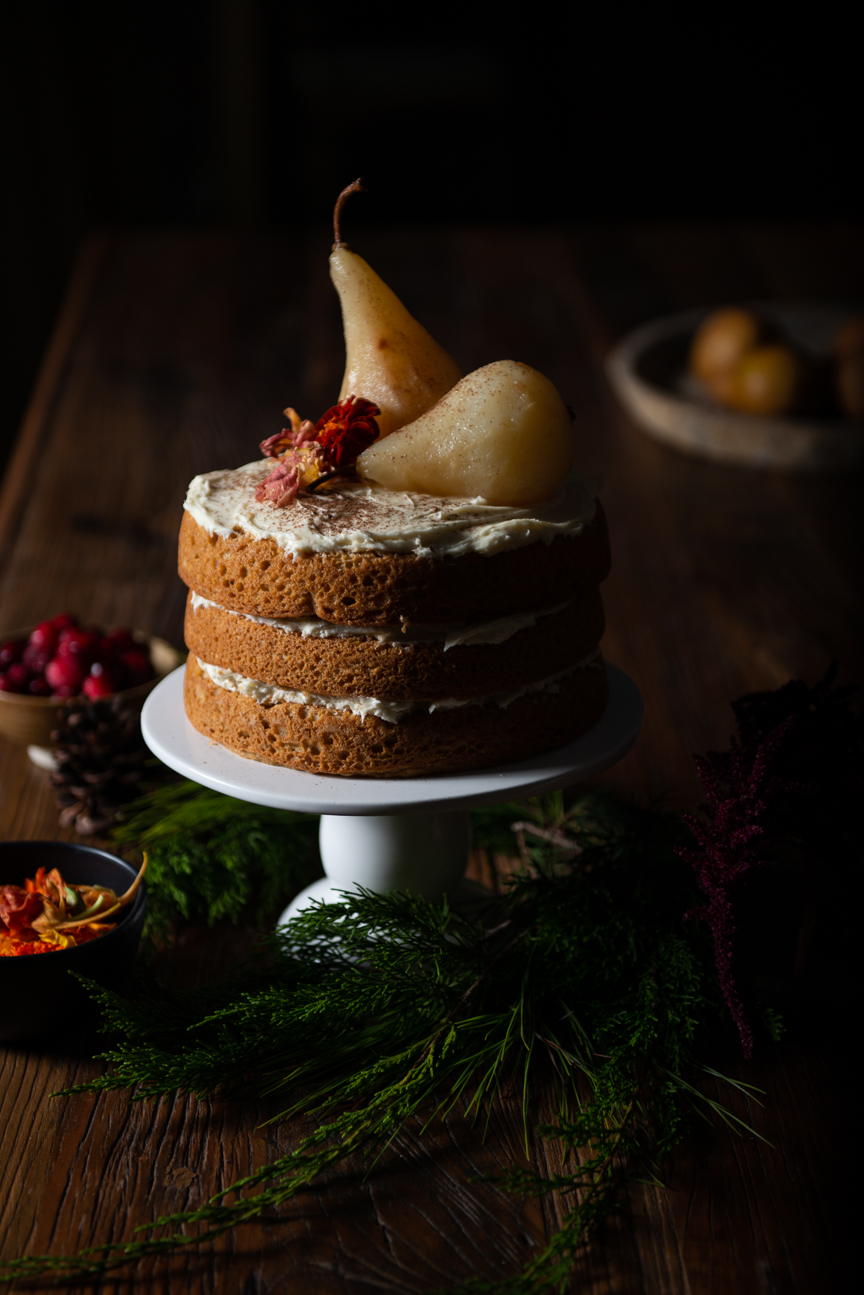 Holiday Fete Recipes | Holiday Recipes | Christmas Recipes | Festive Recipes | Winter Recipes | Food Styling | Food Photography | Food and Prop Styling | Food Styling Ideas | Food Photography Ideas| Vegetarian Holiday Recipes | Holiday Ideas | Caramel Gingerbread Cake with Poached Pears | Paprika Southern