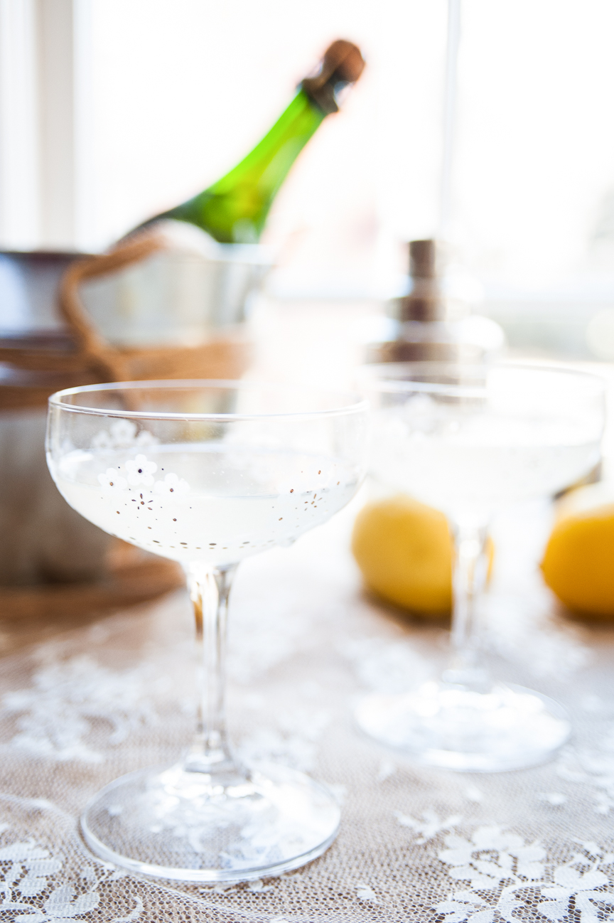 Romantic Dinner a Deux | Valentine's Day | Valentine's Day Ideas | Valentine's Day Cocktails | French 75 | Gin Dessert | Romantic Cocktail Ideas | Food Styling | Food Photography | Food and Prop Styling | Photo Styling Ideas | Food Styling Ideas | Paprika Southern