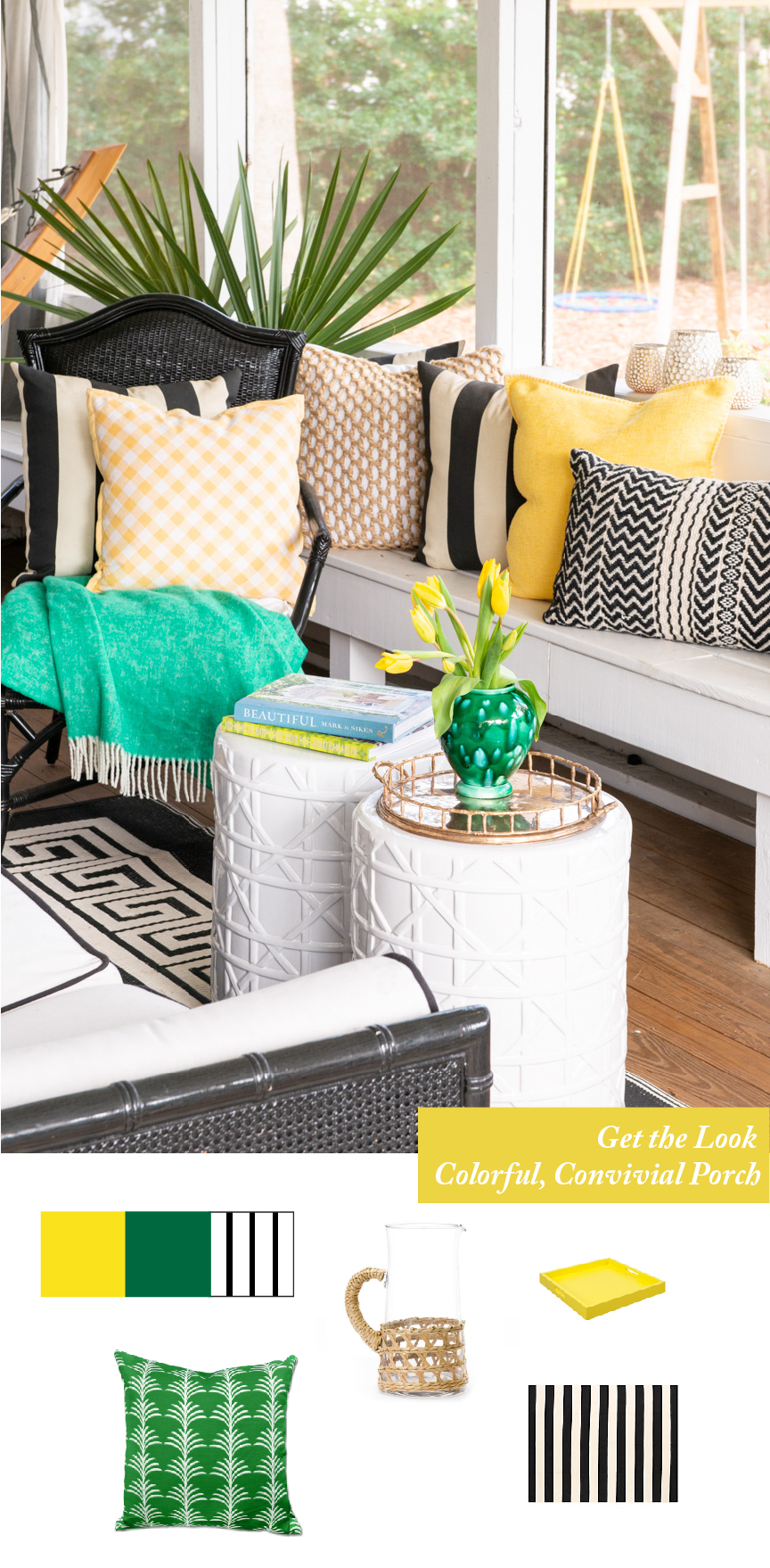 Get the Look | Southern Spring Interiors | Yellow Porch | Green Porch | Neutral Porch with Pops of Color | Preppy Interior | Southern Interior | Southern Style | Coastal Style | Home Decor | Porch Decorating Ideas | How to Use Color In Interiors | How to Use Color for Spring | Emily McCarthy | Paprika Southern