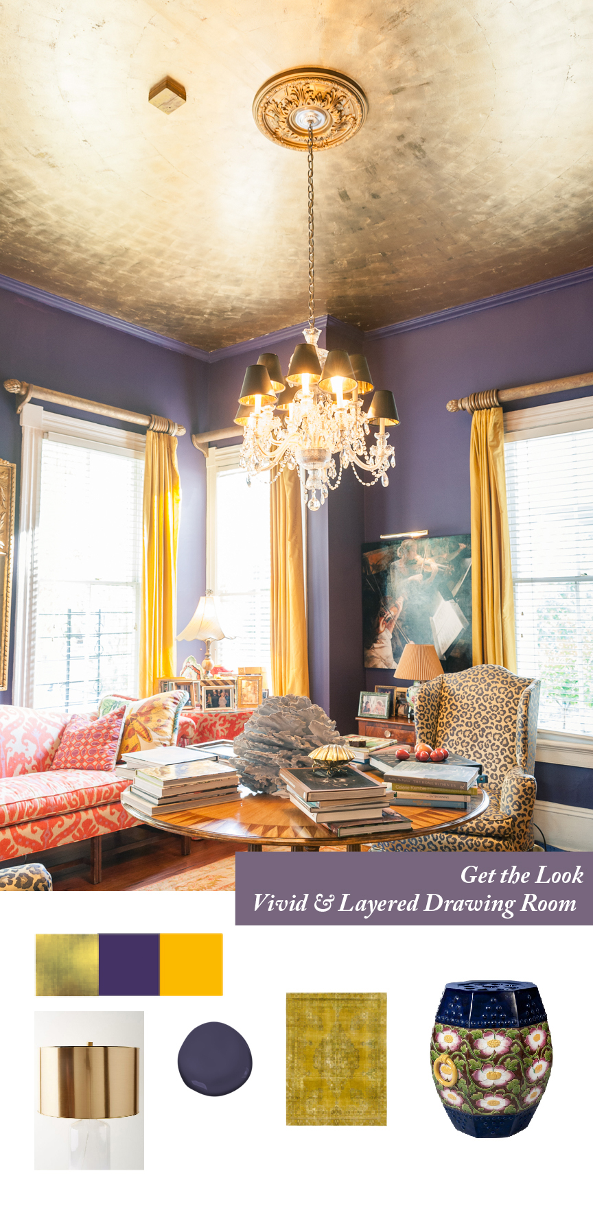 Get the Look | Southern Spring Interiors | Bring on the Color | Color Strategies for Interiors | Susan Mason | Southern Interior | Colorful Home | Colorful Drawing Room | Colorful Living Room | Orange Room | Purple Room | Gold Ceiling | Gold Leaf Ceiling | Southern Home Decor | Colorful Home Decor | Colorful Interior | Paprika Southern