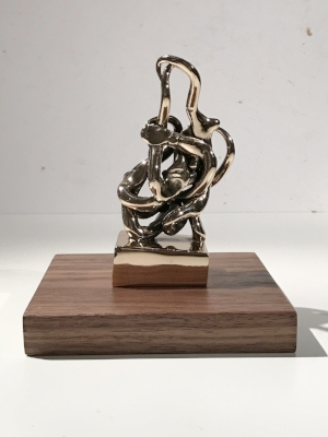 Infinitude 2 High-Polished Bronze, Walnut and Acrylic 7 1/2 × 5 1/2 × 5 1/2 in; 19.1 × 14 × 14 cm Infinitude 2017