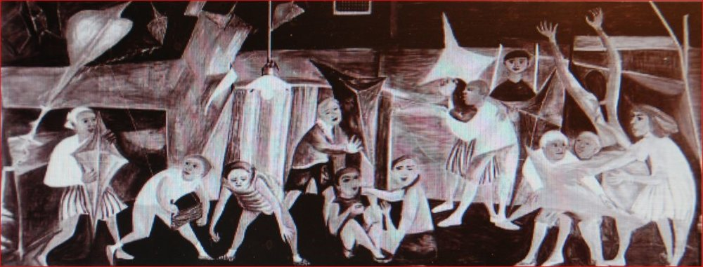 """Muurschildering van Dubrunfaut en Somville: """"Spelende kinderen aan zee"""", 1950, 12 m², in de Rijksmiddelbare School te Overijse."""