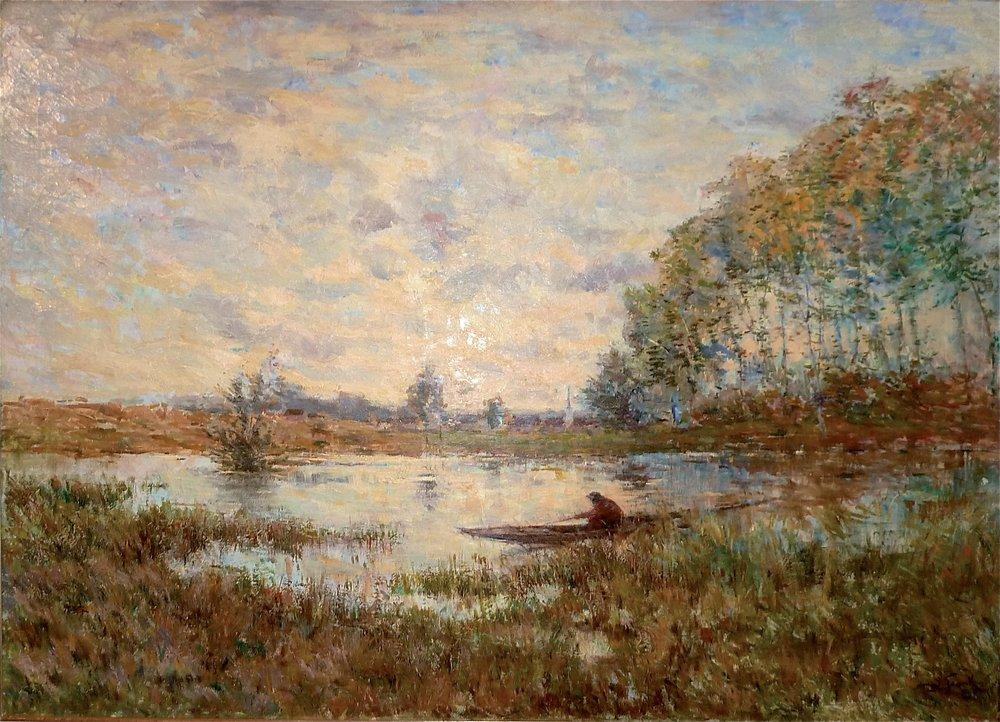 Lucien FRANK (1857-1920) , Hengelaar in bootje op Vossemvijver, Olie op doek, 75 x 105 cm