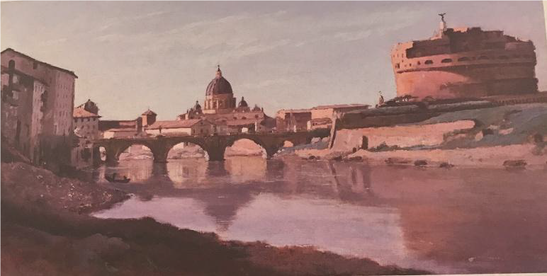 """Jean-Baptiste Camille Corot, """"View of Rome-The Bridge and Castle Sant'Angelo, with the Cupola of St. Peters'. Fine Arts Museum San Francisco"""