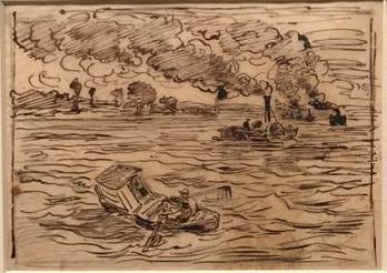 """Daubigny, """"Voyage en bateau"""" (1862), croquis à l'eau forte"""