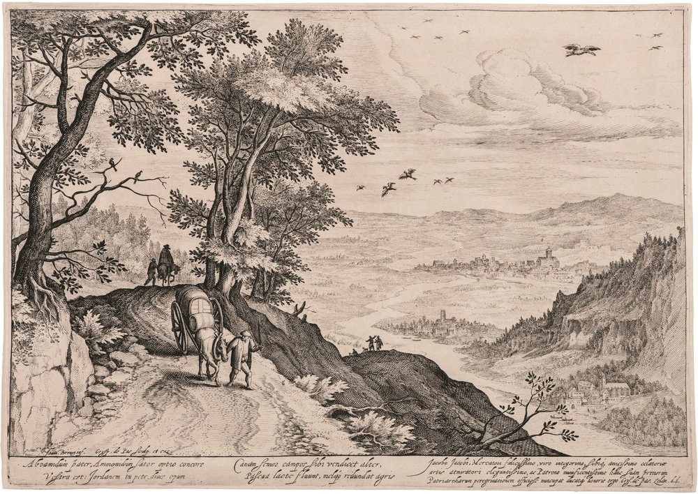 Jan Breughel the Elder    (1568 Brussels-Antwerp 1625), engraved by Cripijn de Passe the Elder (1564 Arnemuiden-Utrecht 1637),    Path over a Valley   , c. 1600, engraving on paper, 22.7x32.6 cm, Hearn Family Trust. Courtesy of the McMullen Museum of Art, Boston College'.