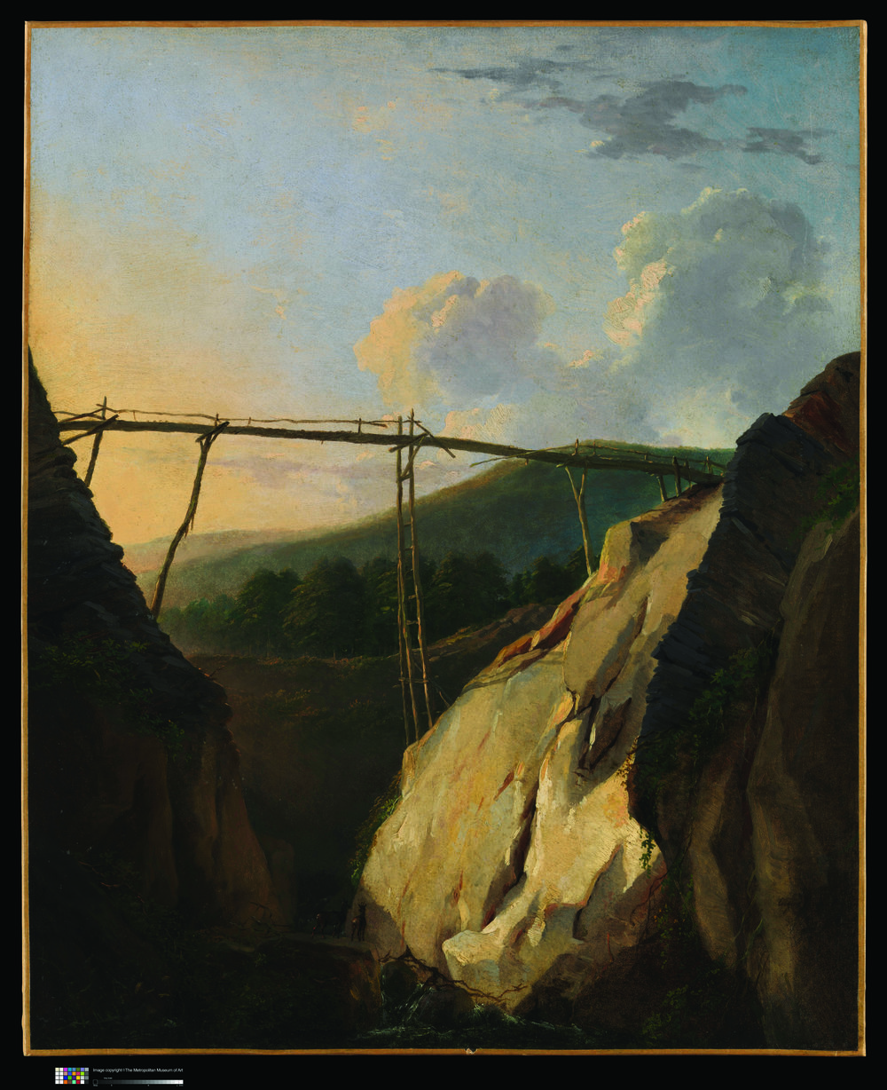 Eugéne-Joseph Verboeckhoven    (1799 Comines-Warneton-Schaerbeek),    Mountainous Landscape with Bridge   , n.D. oil on paper, laid down on canvas, 57.2x46.4 cm. Museum of Art, New York, Whitney Collection, promised gift of Wheelock Whitney gift of Mr. and Mrs. Charles S. McVeigh, by exchange, 2003.42.55. Courtesy of the McMullen Museum of Art, Boston College.