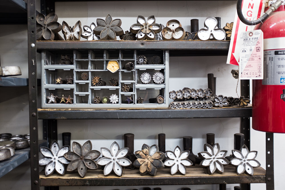 Some of the flower molds are older than the factory.
