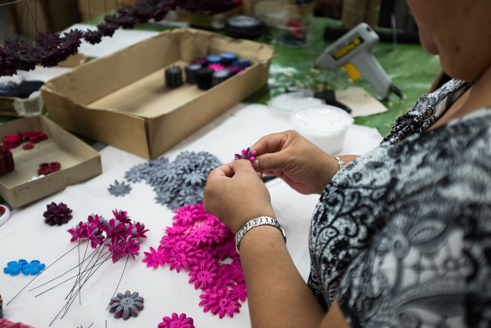 The petals are assembled by hand.