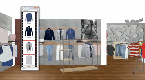 MockShop automatically pulls in your product data so you can simply drag and drop to merchandise a fixture or your whole shop floor in a 3D environment