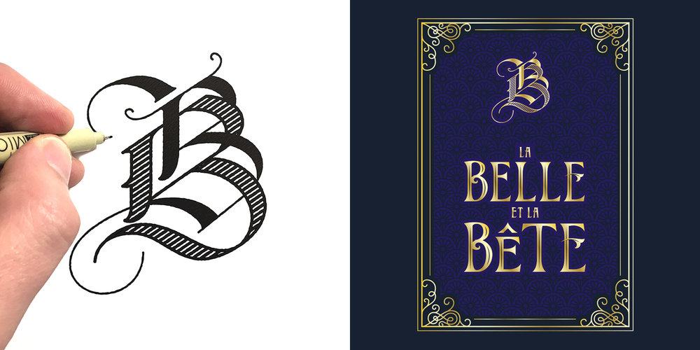 Custom monogram, lettering and book cover design for Cakeworthy's Beauty and the Beast collection (2017).