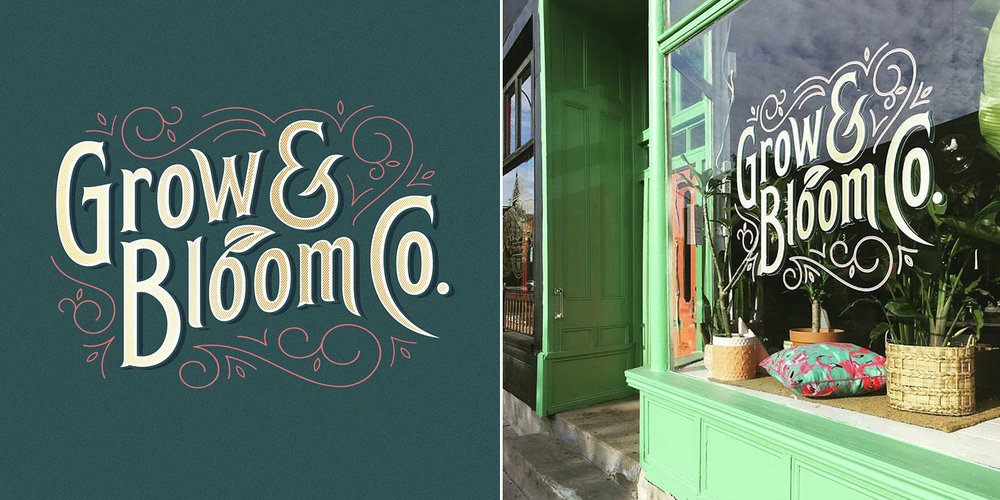 Logo design and storefront signage for London-based florist Grow and Bloom Co. (2017).