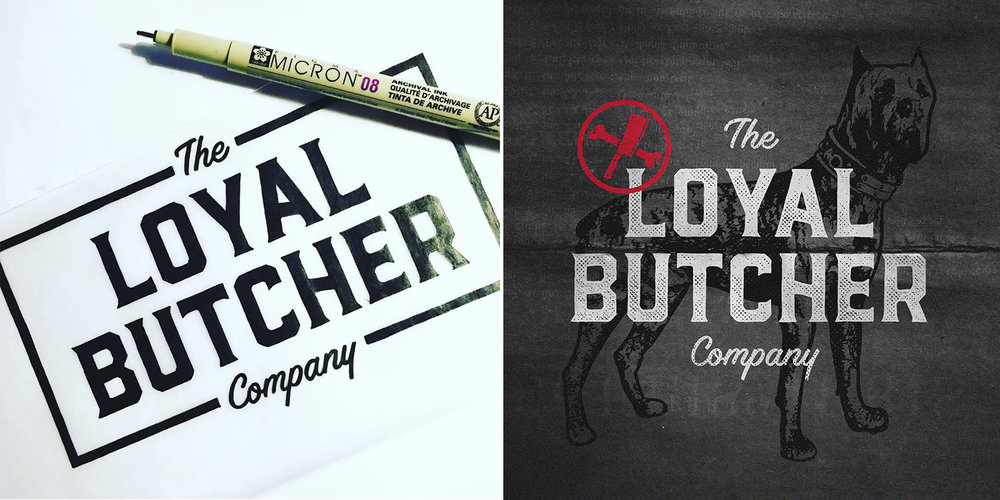 Custom lettering and logo design for The Loyal Butcher Co., a premium dog food supplier specializing in ready-made meal plans (2017).