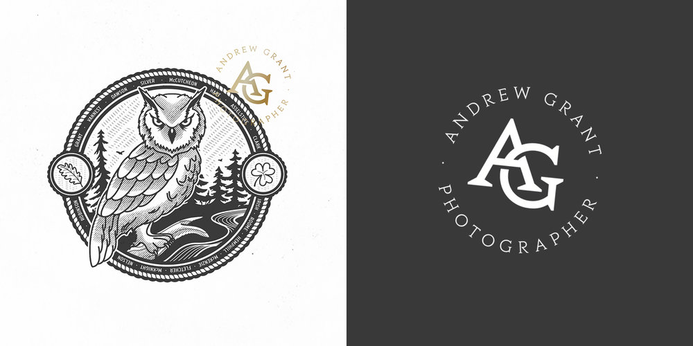 Logo and monogram design for Kitchener-based photographer Andrew Grant (2017).