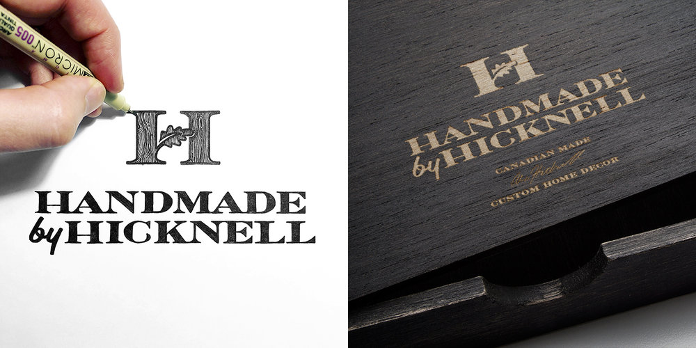 Custom lettering and logo design for Handmade by Hicknell, a producer of custom woodworks and home decor located in Waterloo (2018).