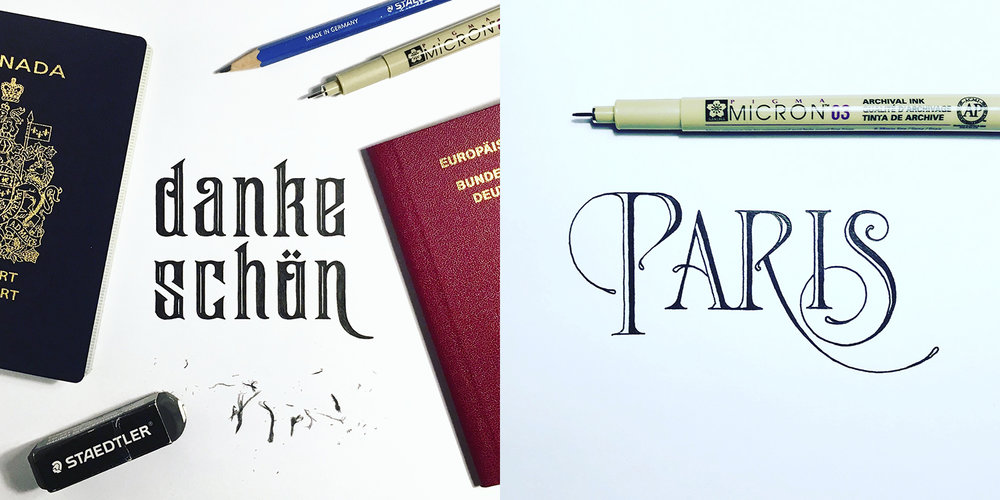 Miscellaneous lettering pieces (2018).