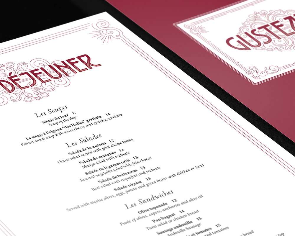 The Ratatouille-inspired project sort of evolved over time with the introduction of additional assignments as part of the same general theme. Gusteau's cookbook became a multi-page menu and wine list for the chef's fictional restaurant, complete with an animated logo (which took me a very gruelling week of sleepless nights to learn in After Effects).