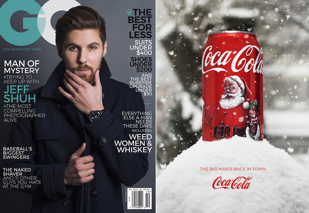Assignments eventually evolved from studio portrait shoots to photography-based magazine ads and covers. I had my friend Jeff in for a studio session to capture the photo for a GQ cover design (believe it or not those article names along the sides are actually from a real GQ issue). For the Coca Cola ad on the right, I grabbed a can from the vending machine at school, shot it in the studio and combined the image with a photo of a snowbank outside my parents' place.