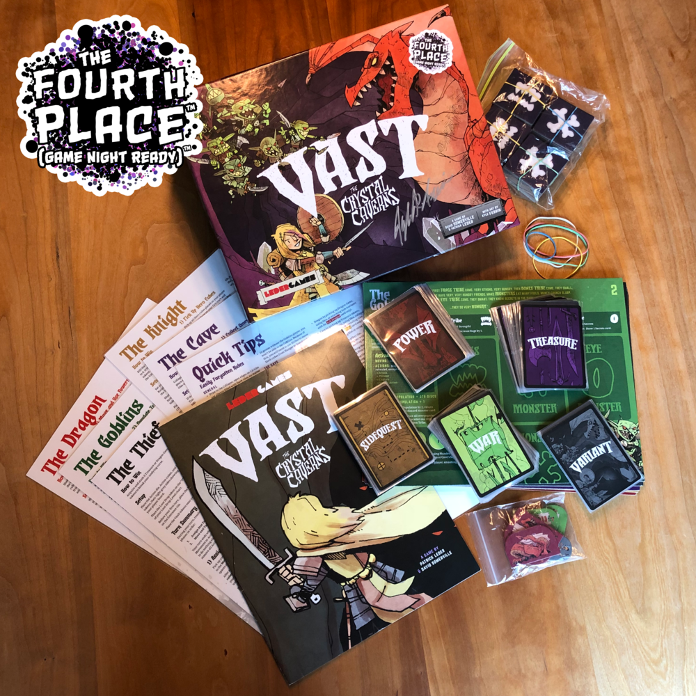 Vast: The Crystal Caverns (Game Night Ready)™ prototype contents. Photo © The Fourth Place