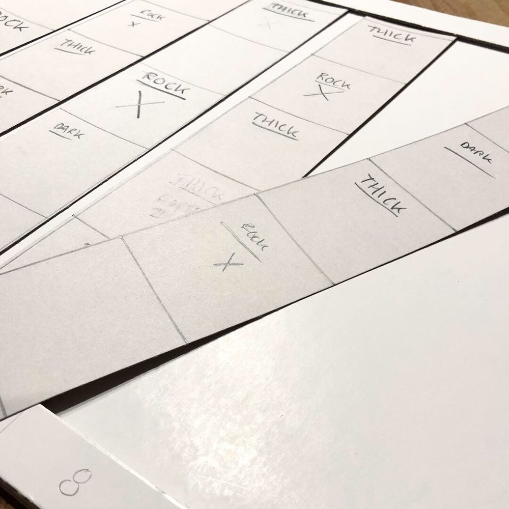 Prototypes terrain cards, strips including five squares— Thicker forest, darker forest, clearings, and rocks blocking the path.