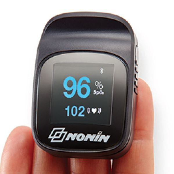 Pulse Oximeter Nonin - Insert finger in to probe infrared light reads pulse and oxygen level, automatically transmits readings via Bluetooth to myMobile app.Specifications:· Manufacturer: Nonin· Model: 3230· ARTG# 165240· Calibration: Self-test· Interface: BLE Android & iOS