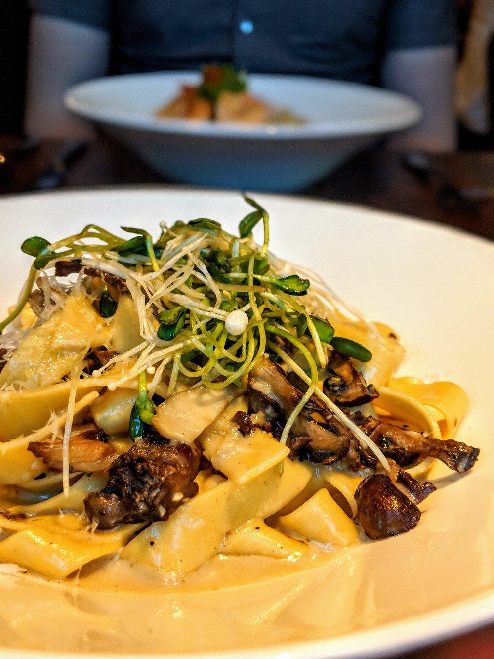 Mushroom Pappardelle   chef's blend mushroom, micro green, mascarpone, white truffle oil