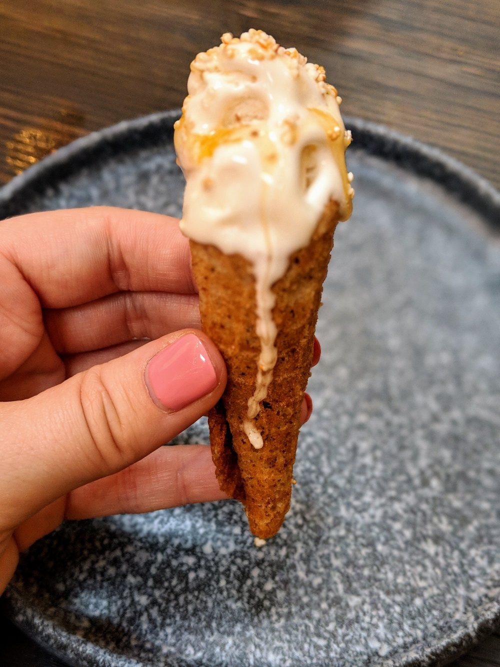 The perfect dessert bite at Brewer's Table: toasted barley ice cream, yeast caramel, hop honey, beer grain waffle
