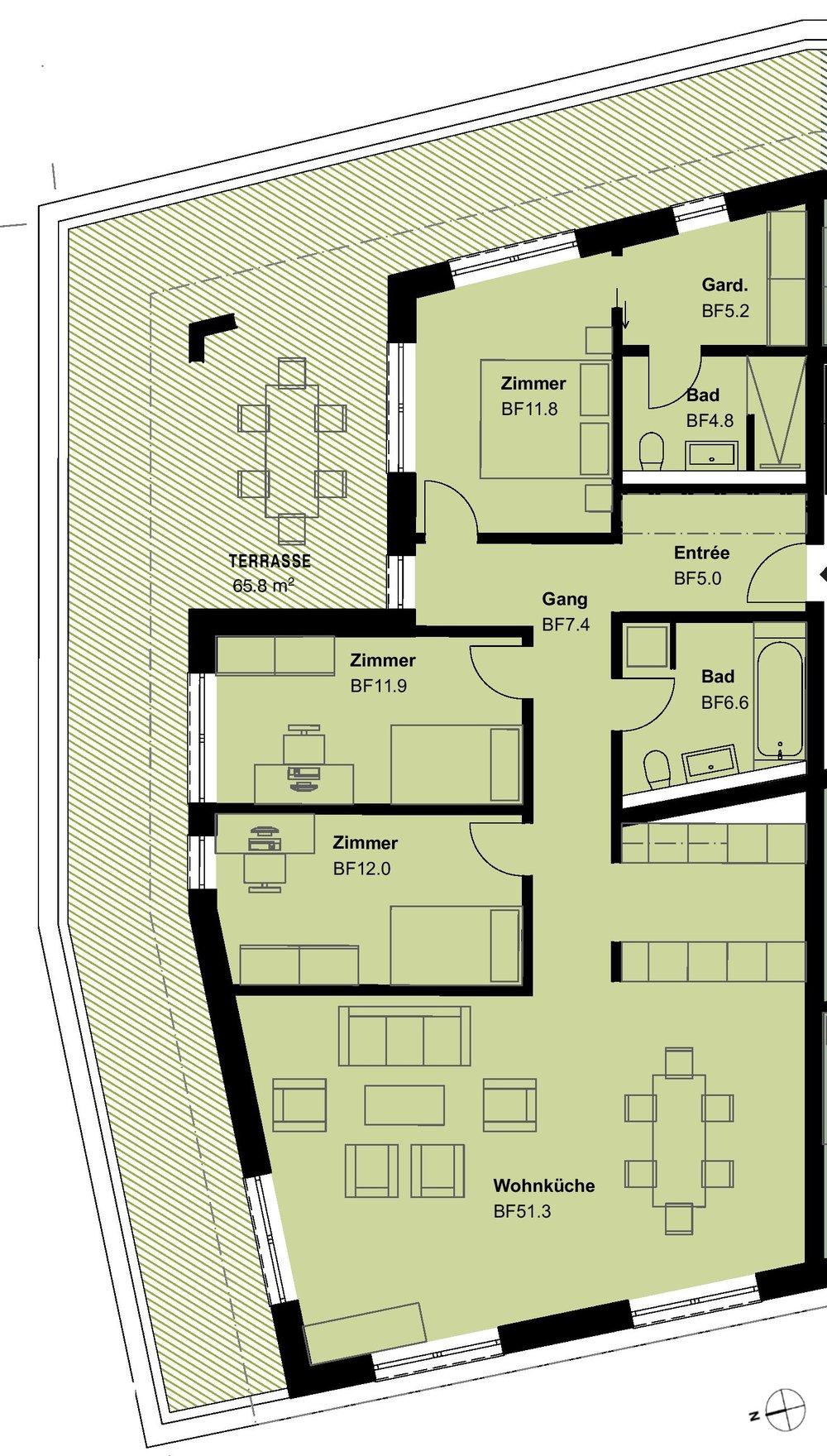 VERKAUFTATTIKA4.5 Zimmerwohnung - TYp 15