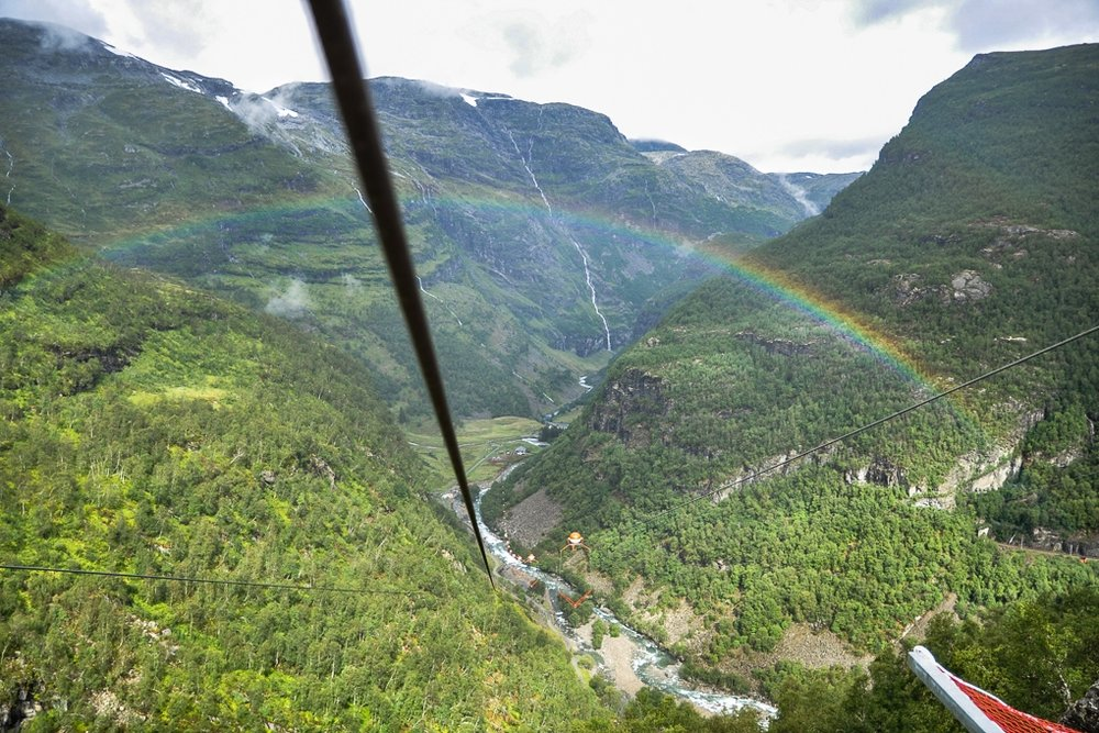 flåm zipline - Experience Flåm`s new big attraction - Flåm Zipline, the longest zipline in Scandinavia with a span of 1,381 metres. This breathtaking zipline starts at Vatnahalsen near the Bergen Line and the Flåm Railway and ends up in Kårdalen close to the Rallarrosa Cheese Farm, in the upper part of the Flåm valley. Your adrenalin will still be pumping when you arrive at Rallarrosa Cheese Farm at the end of the zipline. Spend some time at the farm sharing your experience and unwind with some great cheeses, snacks, light meals and drinks, while taking in the stunning scenery.
