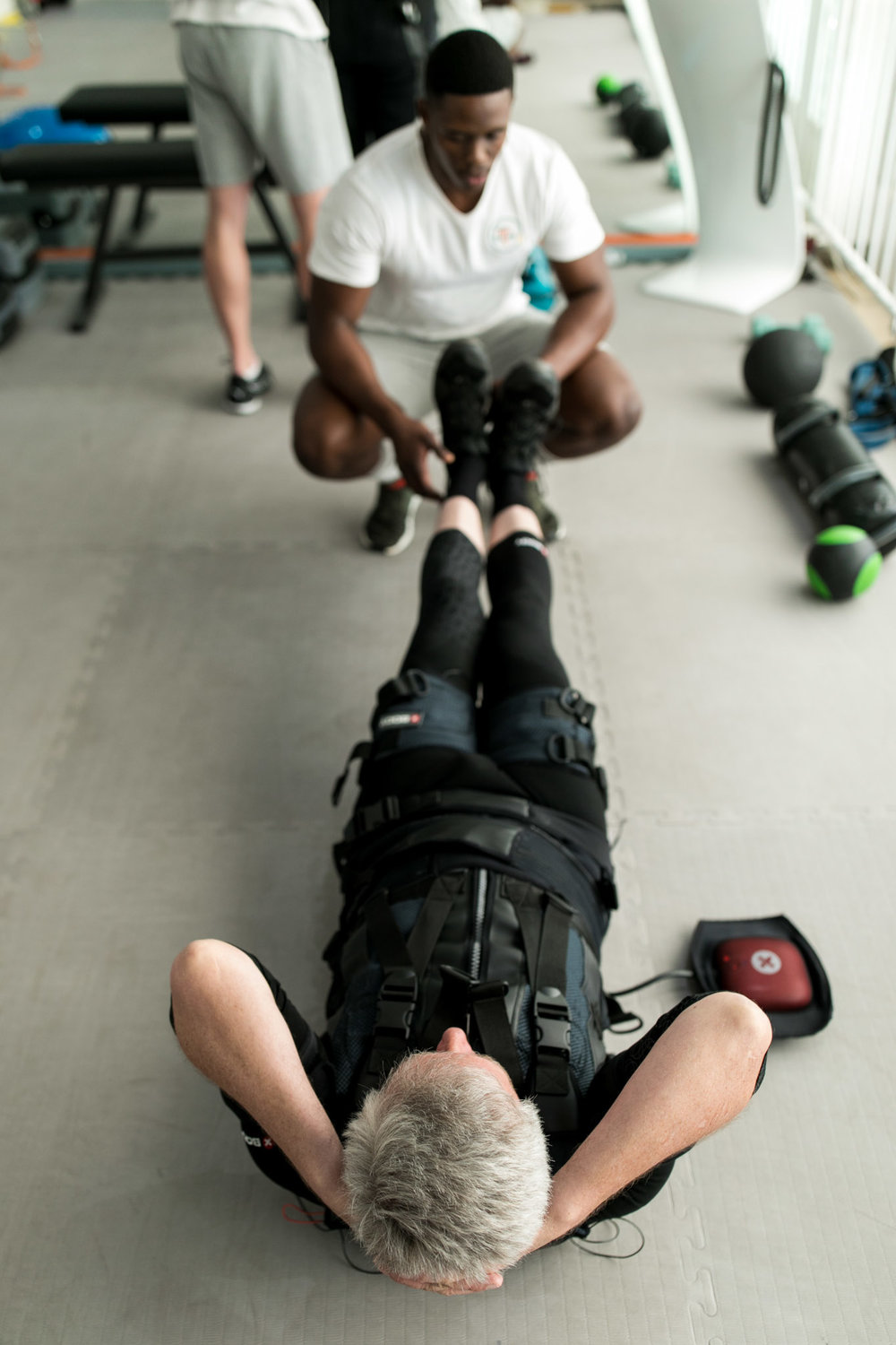 What is EMS? - Electrical Muscle Stimulation, or EMS, is the stimulation of muscle contraction using electric impulses. By activating muscle contraction via electrical stimuli, EMS trains your muscles in a way that traditional physical workouts cannot. In EMS training, electrical pulses activate the muscles externally. For the targeted muscle, it makes no difference whether the electric stimuli originates from the brain or electrodes. In both cases the muscle contracts. EMS sessions help reach deeper muscle tissue and do not affect the joints and results in many lasting benefits!Learn More
