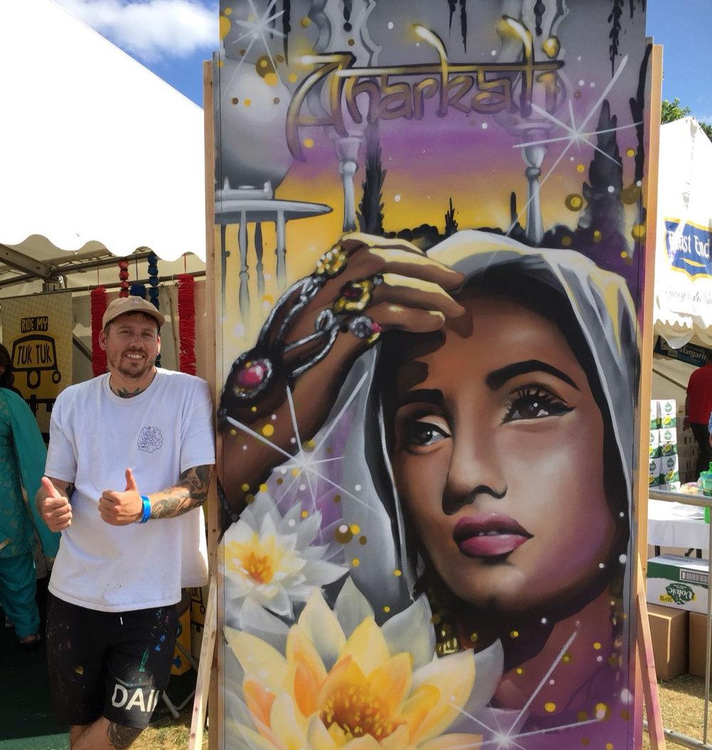 Joe with his painting of Anakali at Mela