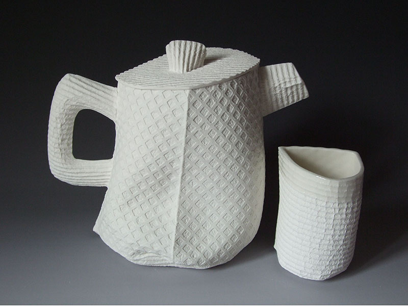 Spongeware teapot & cup Lynn Frydman Kuhn
