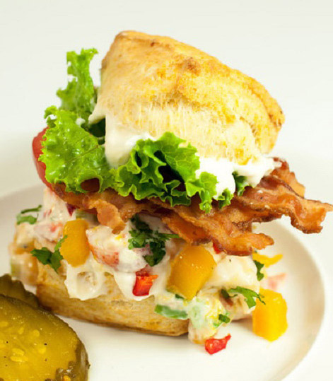 Lobster Salad BLT on a Biscuit