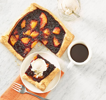 Blueberry Peach Galette with Ice Cream