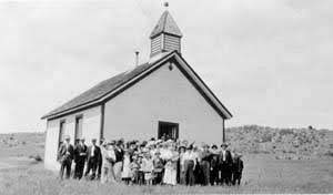 Virginia Dale Community Church in 1879-1880. - Land was donated by Fred Christman.