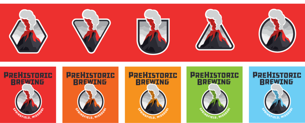Several earlier ideas for the logo, with varieing shapes and colors.